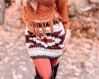 Bohemian Western Crochet Pattern, Aztec Pattern, Bohemian, Boho Chic, Wool Skirt, Size Inclusive Pattern | Aztec Mini Skirt Crochet Pattern