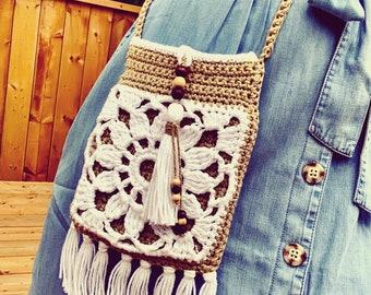 Crochet Crossbody bag Pattern, Bohemian Crochet Purse, Boho Purse Crochet, Boho Pattern | Day Tripper Crossbody Bag Crochet Pattern