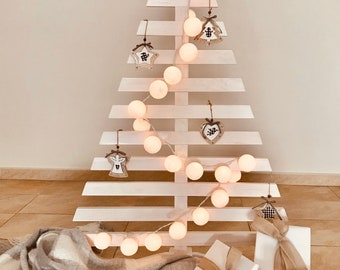 Wood Christmas Tree White, Pallet  Christmas Tree, White Christmas Decorations, Christmas Ornaments Whitewased, Árbol Navidad Madera