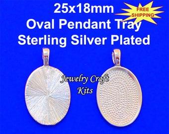 25x18mm Sterling Silver Crown Bezel Pendant cabachon cabochon Setting 21c