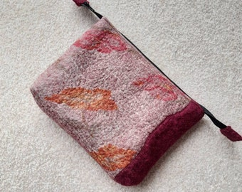 Nuno Felted zipped pouch, pink floral burgundy