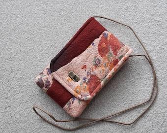 Nuno felted wool crossbody bag with twist lock - red ochre