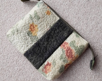Nuno Felted zipped pouch, pale green floral