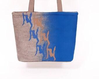 Felted wool blue / oatmeal shoulder bag