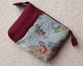 Nuno Felted zipped pouch, pale blue floral burgundy