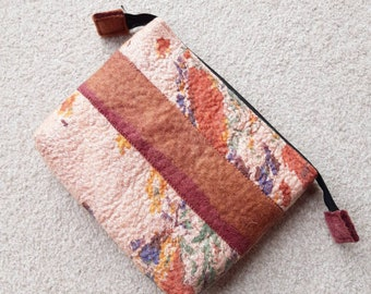 Nuno Felted zipped pouch, coral floral brown