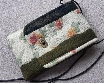 Nuno felted wool crossbody bag with twist lock - green