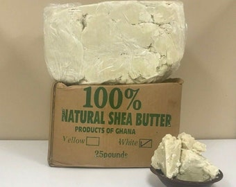 Raw African SHEA BUTTER Unrefined Organic White/Ivory 100% Pure Premium Quality Shea Butter Bulk Wholesale - Choose Size 2 Oz. to 50 Lbs.
