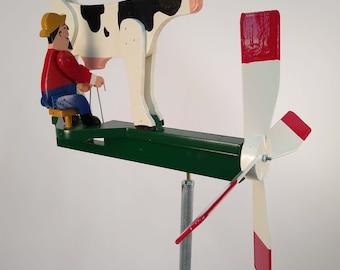 Dairy Farmer Man Milking Cow Whirligig Wind Spinner