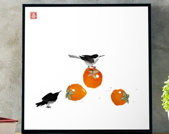 Japanese ink wash painting sumi-e. Two little birds sitting on big persimmon fruits. Digital download.