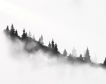 Misty mountain slope with pine trees. Traditional Japanese ink wash painting sumi-e, digital download.