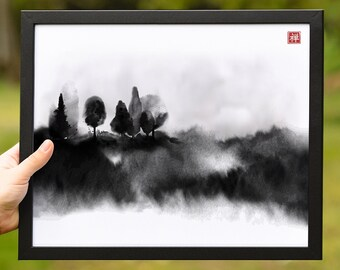 Japanese watercolor painting sumi-e. Landscape with misty forest trees. Zen art, digital download.