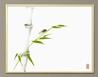 Japanese ink wash painting sumi-e. Cicada and green bamboo branch. Digital download. Wall art, minimalism.