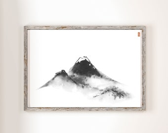 Misty mountains. Traditional Japanese ink wash painting sumi-e, digital download. Wall art, japanese minimalism.