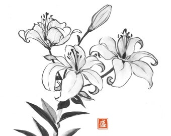 Lily flowers in Japanese style. Traditional Japanese ink wash painting sumi-e. Digital download.