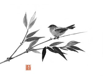 Bamboo and little bird  hand-drawn with ink in sumi-e style. Digital download.