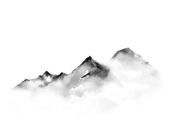 Distant mountains. Traditional Japanese ink wash painting sumi-e, digital download.