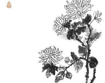 Chrysanthemum flowers. Traditional Japanese ink wash painting sumi-e, digital download.