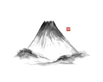 Fujiyama mountain. Traditional Japanese ink wash painting sumi-e, digital download.