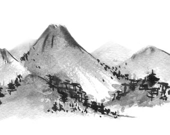 Mountain range. Traditional Japanese ink wash painting sumi-e, digital download.