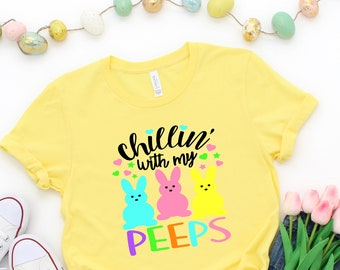 Keepmove Easter Shirts for Women Hangin with My Peeps Shirt Rabbit Pattern Leopard Print Short Sleeved T-Shirt