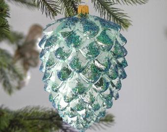Christmas Decor Large Glass Purple Teardrop Fir Cone Pinecone Bauble Amenia