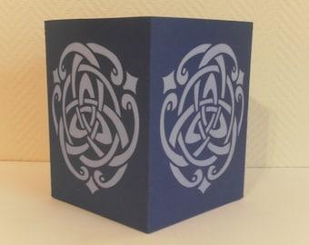 Handmade blue celtic lantern made of paper- Made in France