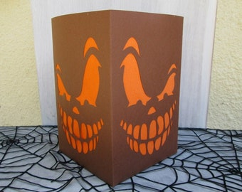 Photophore lantern Halloween smiling face thick paper and crepe