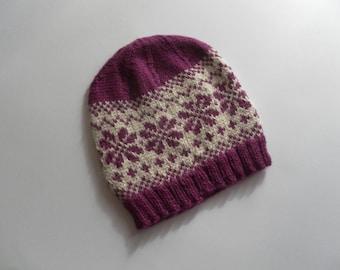 Jacquard hat child fuchsia wool llama