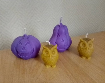 Lot candles halloween pumpkins and owls, French artisanal manufacture