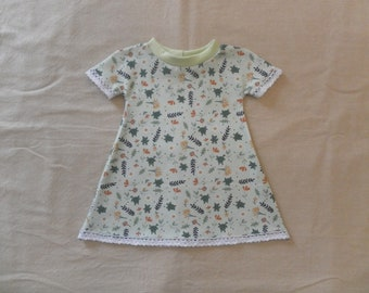 Baby dress cotton organic frogs, small sleeves, lace