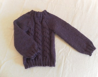 Hand-knitted knitted alapaga wool kid sweater - sweater over children alpaca