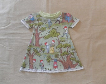 Eco-friendly organic cotton baby dress, small sleeves, lace