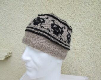 Boy hat head of death wool of llama-Bonnet boy skull