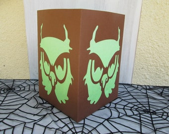 Handmade halloween owl lantern
