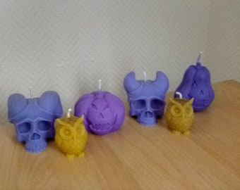 Candles deco halloween natural wax, French artisanal manufacture