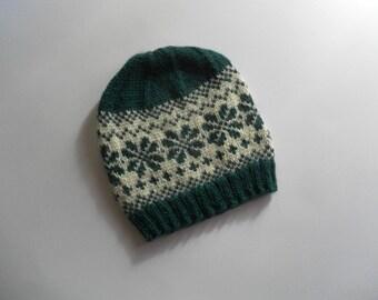 Jacquard cap child green llama wool