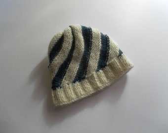 White blue spiral child cap in alpaca and mohair wool