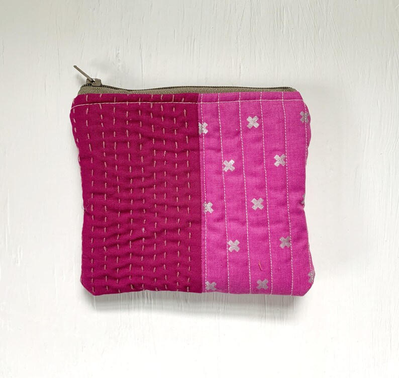 Pink Hand Quilted Zipper Pouch
