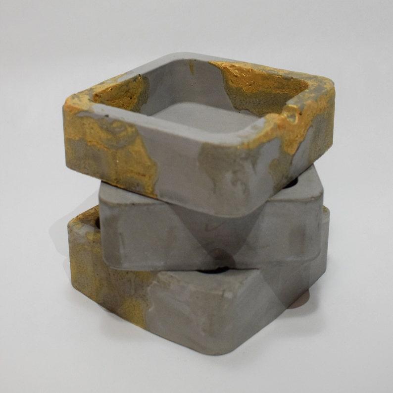 Handmade Grey /& Gold Ashtray  Square Concrete Ashtray