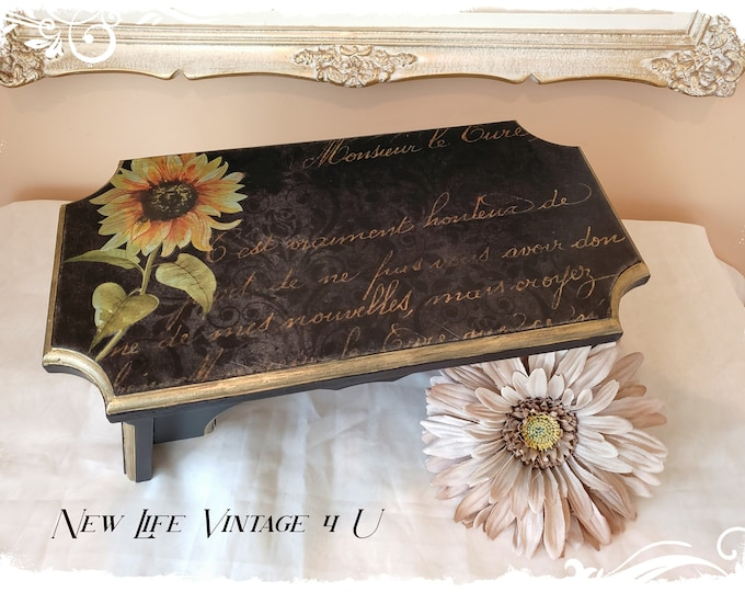 """Step Stool OR Wood Riser - """"French Whimsey"""", Antique Small Stool"""