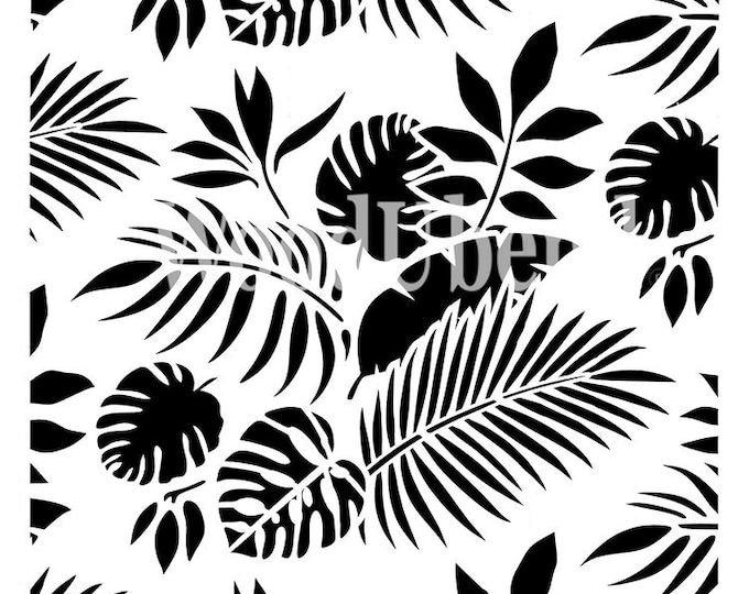"Posh Chalk Stencil PCS021 Tropical Leaves 19.69 x 19.69"" - ADVANCED SALE, Due in Stock Oct 31st"