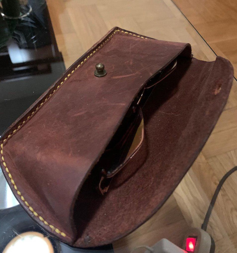 Hard leather case for glasses