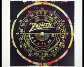 Black Zenith signed numbered giclée print in edition of 25 printed on 100lb cover logo type colors shapes radio dial vintage artwork