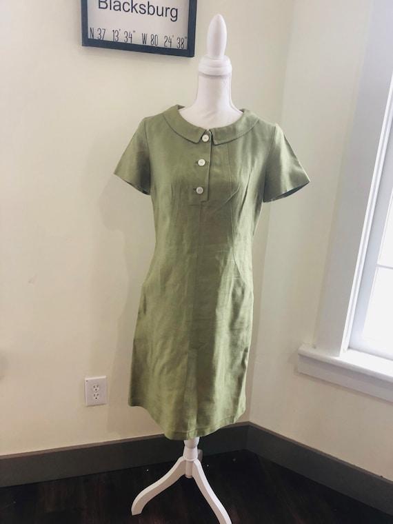 Vintage 1950s Olive Green Linen Dress / Vintage Mo