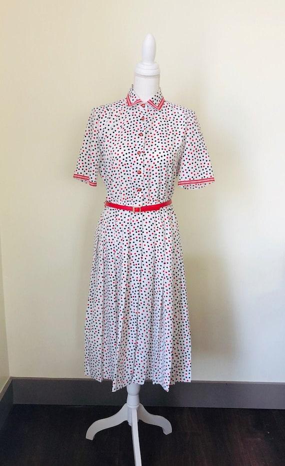 Vintage Schrader Sport Petite Belted Dress /  Vint