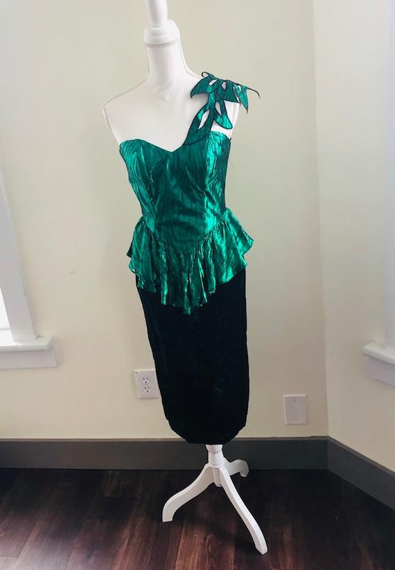 Vintage Metallic Green Peplum Prom Dress! Vintage