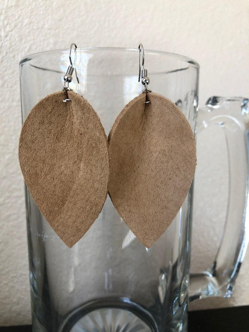 Leaf Shape Faux Leather Earrings