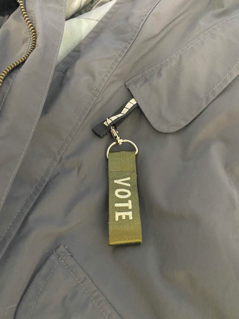 Zipper Charms Vote zippers VOTE Tag Vote for all Vote zipper pull Vote Bagtag Vote Nametag Vote Accessory Election Vote keychain