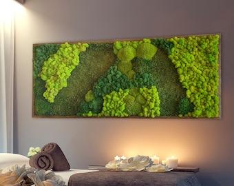 Moss wall art. Large Moss frame. Green wall art. Wall decor. Preserved moss